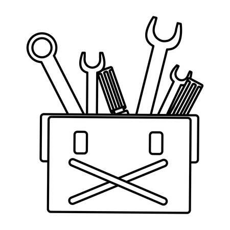 tools box mechanic with wrench keys vector illustration design