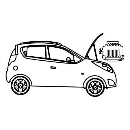 car vehicle with engine out in mechanical workshop vector illustration design Stock Illustratie