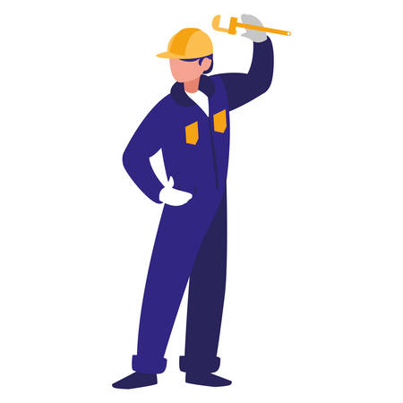 plumber with pipe wrench character vector illustration design