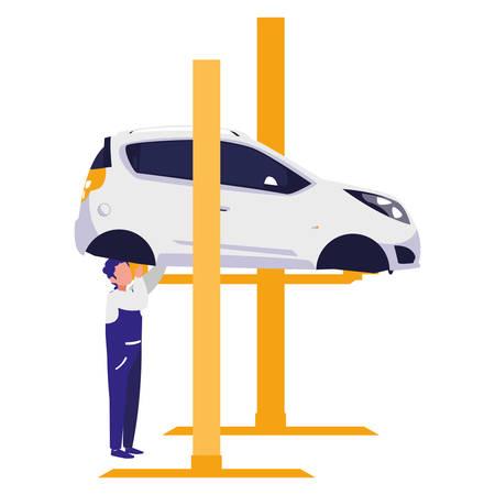 mechanic worker with car in platform vector illustration design Vectores