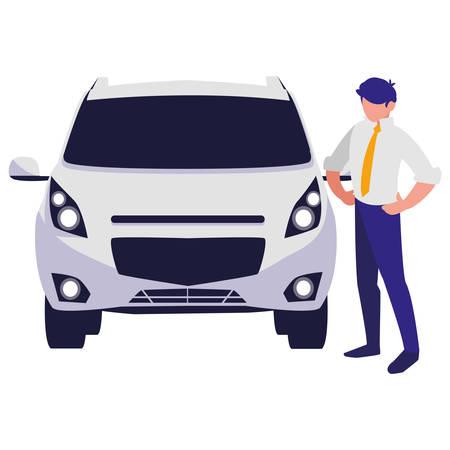 businessman with car character vector illustration design Standard-Bild - 124843405