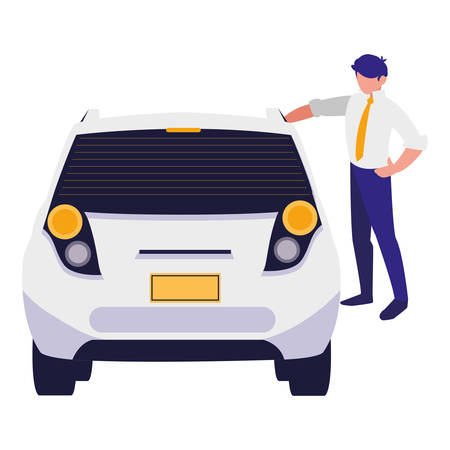 businessman with car character vector illustration design Standard-Bild - 124843417