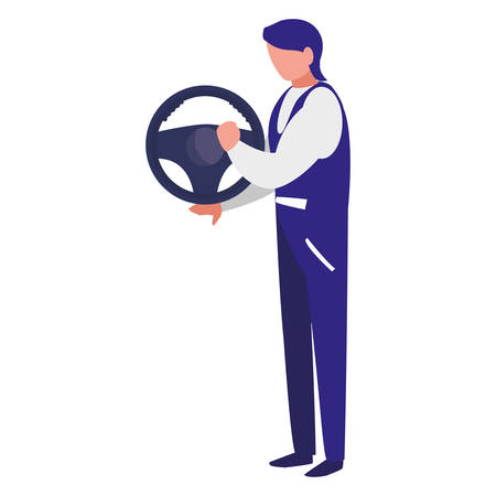 mechanic worker with drive wheel car vector illustration design Standard-Bild - 124843438