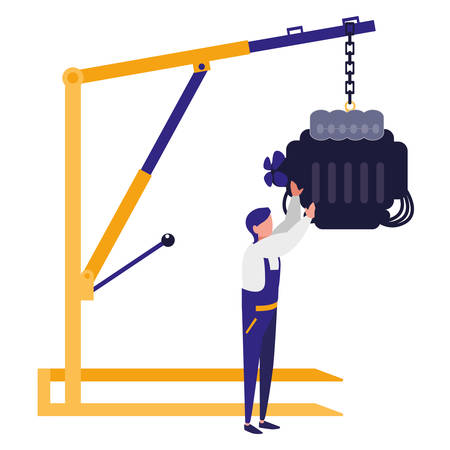 mechanic worker with car engine hanging vector illustration design