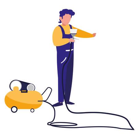 mechanic worker with compressor air vector illustration design