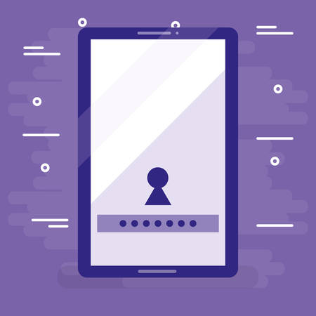 smartphone device with keyhole and password vector illustration design