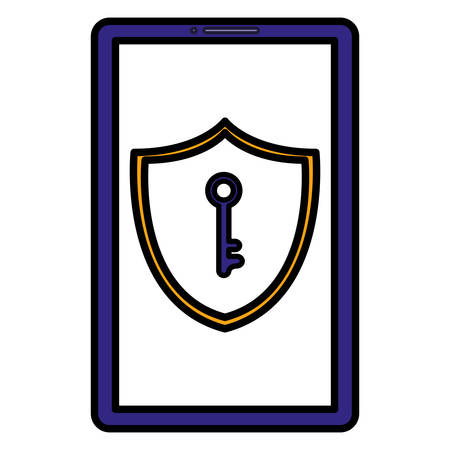 smartphone with shield and key vector illustration design
