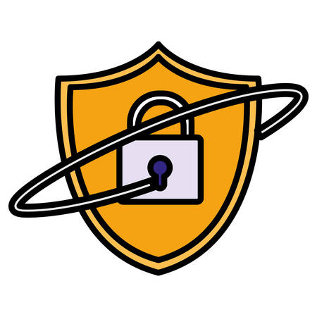 shield security with padlock vector illustration design