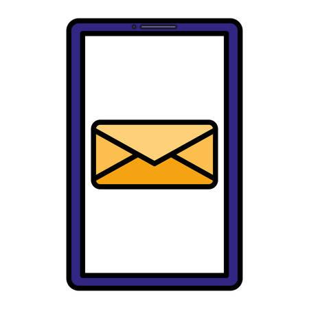 smartphone device with envelope vector illustration design Çizim