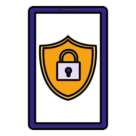 smartphone with shield and padlock vector illustration design