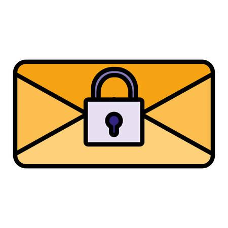 envelope mail with padlock vector illustration design