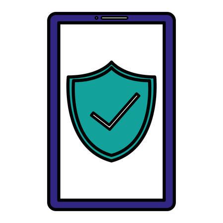 smartphone with shield and ok symbol vector illustration design Çizim