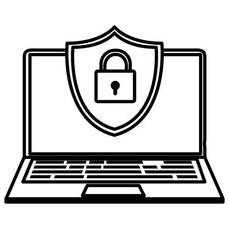 laptop computer with shield and padlock vector illustration design Illustration