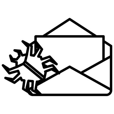envelope mail with virus bug vector illustration design