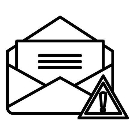 envelope mail with alert symbol vector illustration design