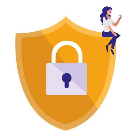 woman using shield security with padlock vector illustration design