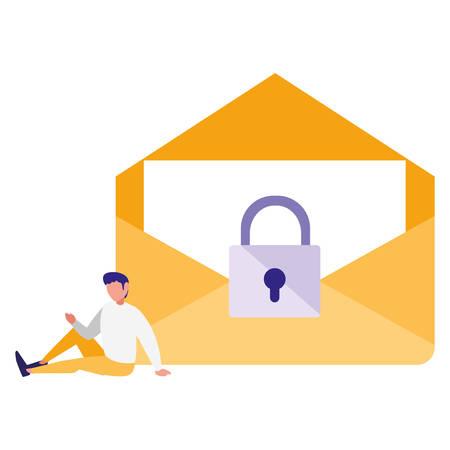 man using envelope mail with padlock vector illustration design Illustration