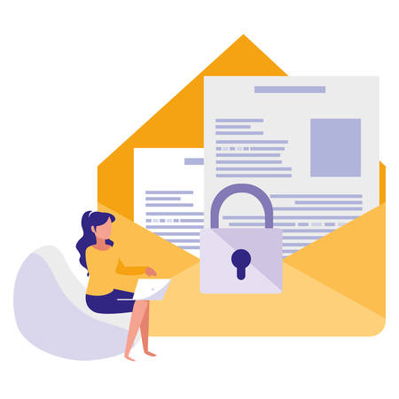 woman using envelope mail with padlock vector illustration design