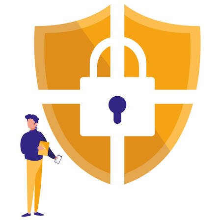 man using shield security with padlock vector illustration design