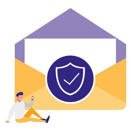 man using envelope mail with shield vector illustration design