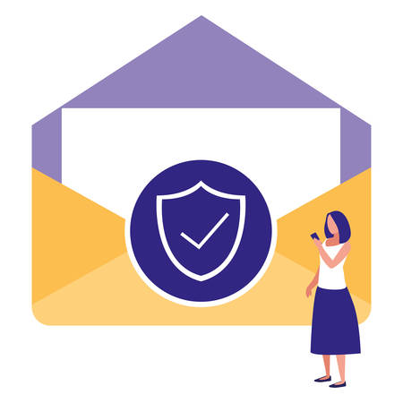woman using envelope mail with shield vector illustration design