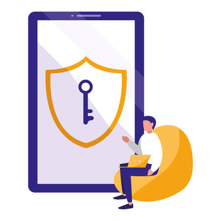 man using smartphone with shield and key vector illustration design