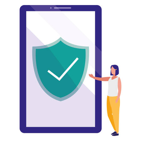 woman using smartphone with shield and ok symbol vector illustration design