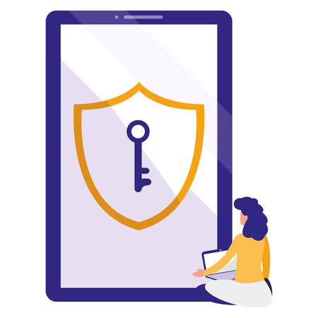 woman using smartphone with shield and key vector illustration design