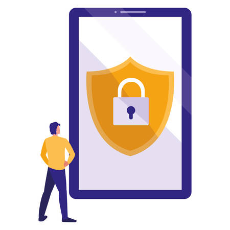man using smartphone with shield and padlock vector illustration design