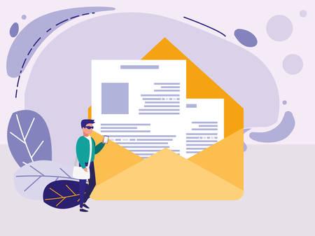 man using envelope mail vector illustration design Illustration