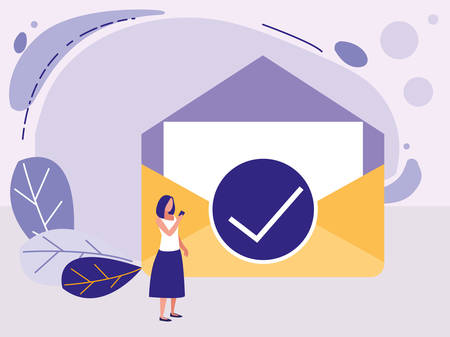 woman with envelope mail vector illustration design