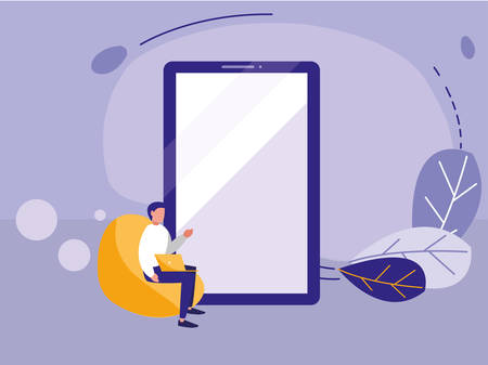 man using smartphone device vector illustration design Çizim