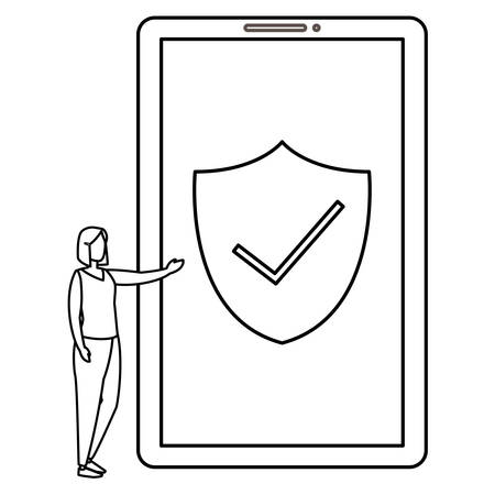woman using smartphone with shield vector illustration design