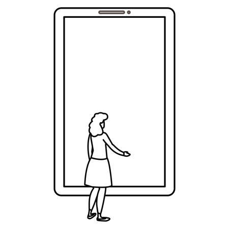 woman using smartphone device vector illustration design