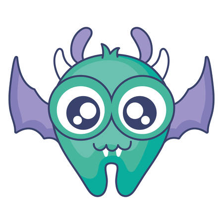crazy monster with wings comic character vector illustration design Illustration