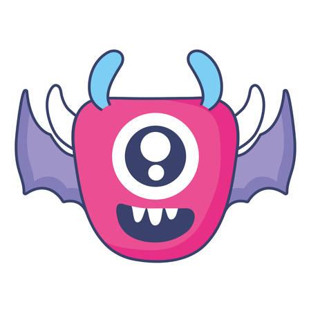 monster with one eye comic character vector illustration design Illustration