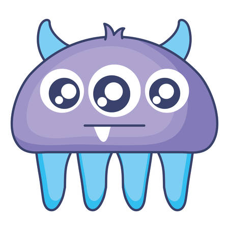 crazy monster with three eyes comic character vector illustration design Illustration