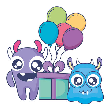 crazy monsters with gift and balloons helium characters vector illustration design