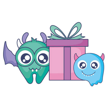crazy monsters with gift comic characters vector illustration design