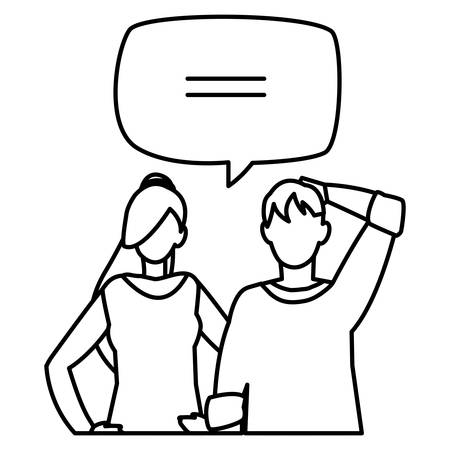 young couple with speech bubble characters vector illustration design Иллюстрация