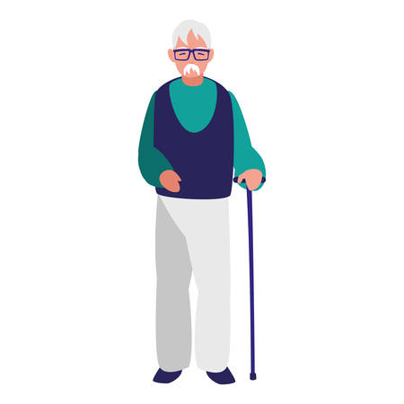 cute grandfather with cane character vector illustration design