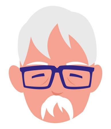 cute grandfather head avatar character vector illustration design