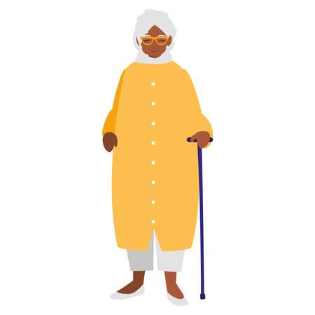 cute grandmother black avatar character vector illustration design