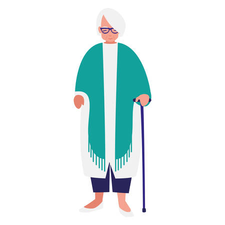 cute grandmother with cane vector illustration design 일러스트