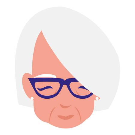 cute grandmother head avatar character vector illustration design Illustration