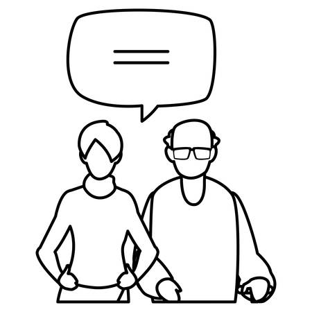 cute grandfather with daughter talking vector illustration design Иллюстрация