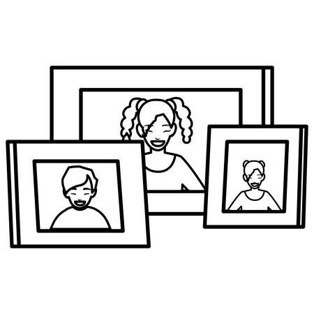 set of portraits pictures vector illustration design Illustration