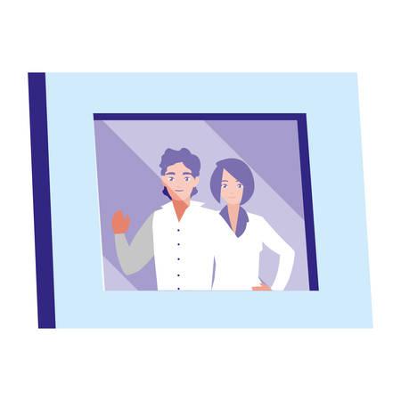 portrait with couple picture vector illustration design Banque d'images - 124746477