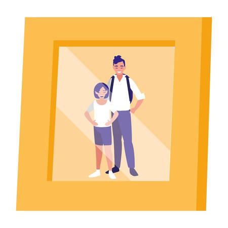portrait with couple picture vector illustration design Banque d'images - 124746479