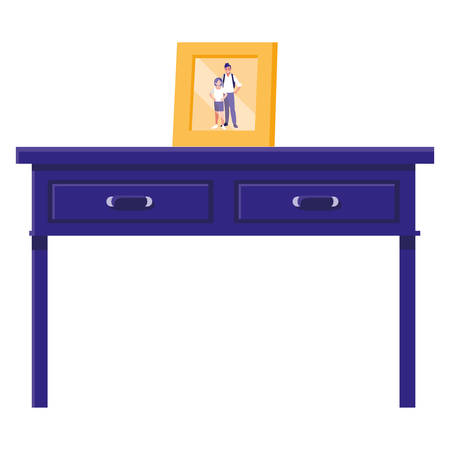 table with drawers wooden and portrait vector illustration design